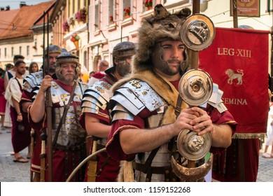 Ptuj, Slovenia - Avgust 18 2018: Roman games,  Marching legionary soldiers