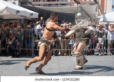 Ptuj, Slovenia - Avgust 18 2018: Roman games,  two gladiators show fighting