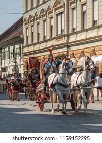 Ptuj, Slovenia - Avgust 18 2018: Roman games,  roman carriage with two horses