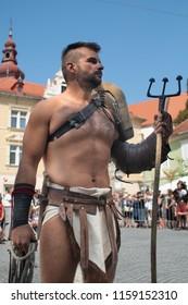 Ptuj, Slovenia - Avgust 18 2018: Roman games,  a gladiator