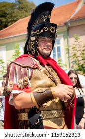 Ptuj, Slovenia - Avgust 18 2018: Roman games,  Roman legionary
