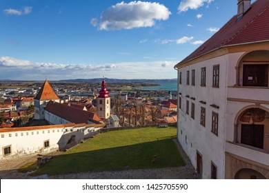 Ptuj, Slovenia, Europe - January 2nd 2019 - Details of the buildings in the medieval area of Ptuj castle
