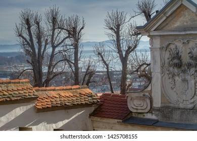 Ptuj, Slovenia, Europe - January 2nd 2019 - Details of the medieval Ptuj castle