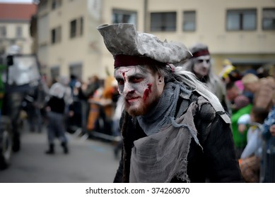 Ptuj - Slovenia: February 7: Carnival participants posing during carnival march thru the city of Ptuj - Slovenia on 7th February, 2016 in Ptuj - Slovenia