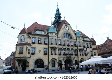 PTUJ, SLOVENIA - JULY 02: The City Hall facade in Ptuj, town on the Drava River banks, Lower Styria Region, Slovenia on July 02, 2016.
