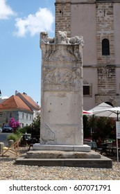 PTUJ, SLOVENIA - JULY 02: Monument of Orpheus in Slovenski Square in Ptuj, town on the Drava River banks, Lower Styria Region, Slovenia on July 02, 2016.