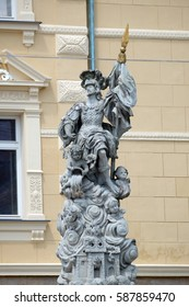 PTUJ, SLOVENIA - JULY 02: Saint Florian statue on the central square in Ptuj, town on the Drava River banks, Lower Styria Region, Slovenia on July 02, 2016.