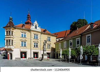 PTUJ, SLOVENIA – JUNE 9, 2018: Cityscape of Ptuj, the oldest city in Slovenia, inhabited since the late Stone Age, settled by Celts in the Late Iron Age and developed from a Roman military fort.