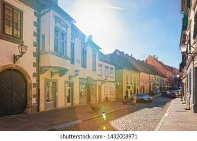 Ptuj, Slovenia - March 17, 2019: Cityscape with street lanterns at the center of Ptuj old town in Slovenia.