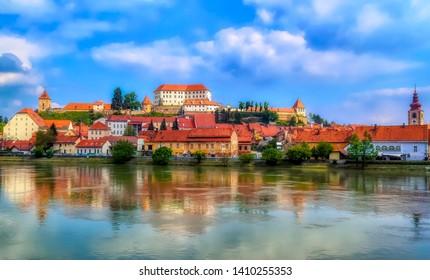 PTUJ, SLOVENIA, May 1 2017: River Drava and Old Town of Ptuj in Ptuj, Slovenia.