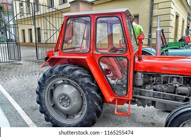 PTUJ, SLOVENIA, May 20 2018: A Yugoslavian IMT 533 De Luxe old tractor side view, on exhibition at Ptuj, Slovenia.