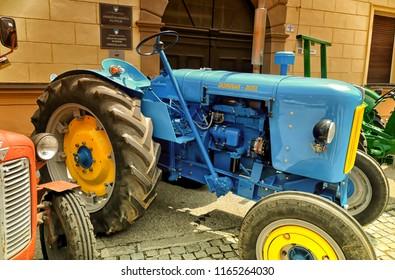 PTUJ, SLOVENIA, May 20 2018: An old Yugoslavian tractor named Zadrugar, made in Industrija Motora Rakovica, at exhibition in Ptuj, Slovenia.