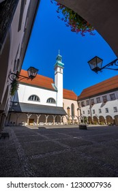Ptuj, Slovenia. September 28, 2018. The old historical centre of the oldest slevenian city, Ptuj.
