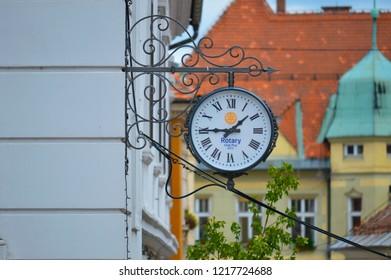 Ptuj,Slovenia/ Slovenia-06.25.2018: Clock on the building Ptuj in Slovenia