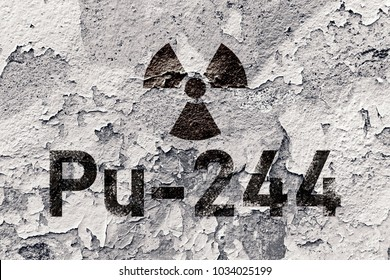 Pu 244 - radioactive Plutonium isotope sign on grunge wall