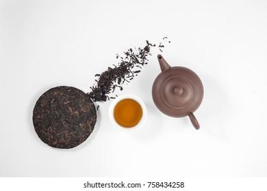 Pu Erh Traditional Tea. Top view