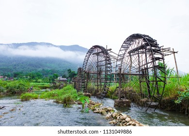 Pu Luong water wheel on stream, Thanh Hoa, Vietnam