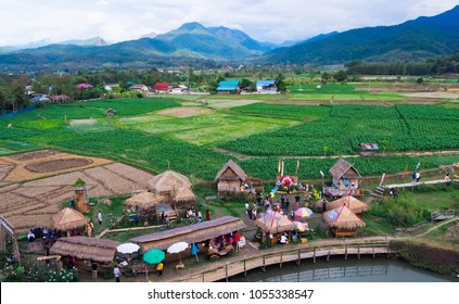 at Pua, Most people do farming. the landscape surrounding there are fields and Beautiful mountains. Tubna thai lue famuous travel place. On December 12,2017, Pua District, Nan Province, Thailand.