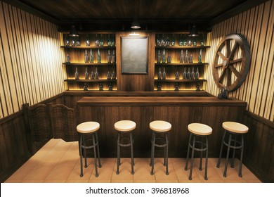 Pub interior with wooden counters and blank blackboard. 3D Render
