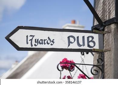 Pub Sign in Ireland in Summertime