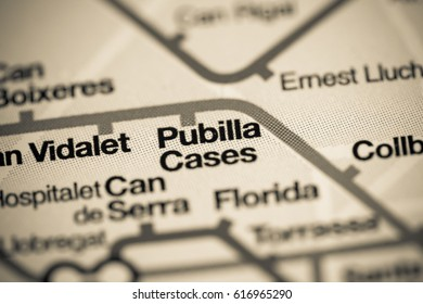 Pubilla Cases Station. Barcelona Metro map.