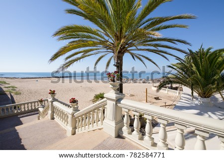 Public access to sandy Voramar Beach, in Benicassim, Castellon, Valencia, Spain, Europe. Great palm tree, classic stairs with vases with flowers, blue clear sky and Mediterranean Sea. Horizontal