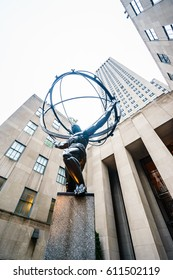 "Public Art ""Atlas"", New York, USA - 22 October, 2016: Atlas is a bronze statue in front of Rockefeller Center in midtown Manhattan"