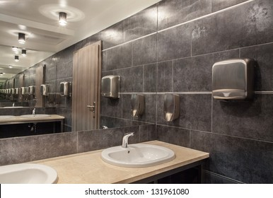 \public bathroom in gray colors