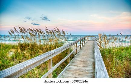 Public Beach access on Kure Beach on North Carolina's Atlantic coast.