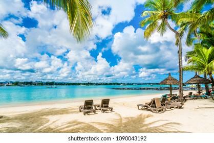 Public beach at Grand baie on Mauritius island, Africa