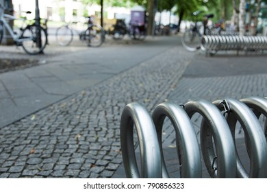 Public bicycle stnads and bicycles in Berlin.