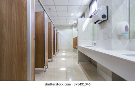 Public building are men's toilets with sinks