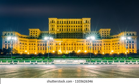 The public building of the Palace of the Parliament, by night, in Bucharest, Romania. The Palace of the Parliament is the second largest administrative building in the world.