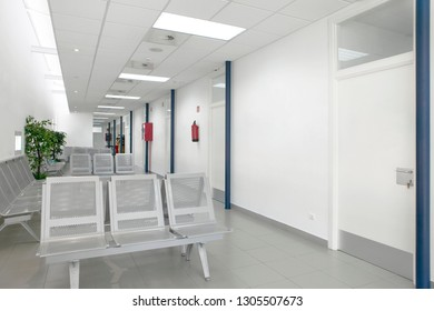 Public building waiting area. Health center interior. Nobody. Horizontal