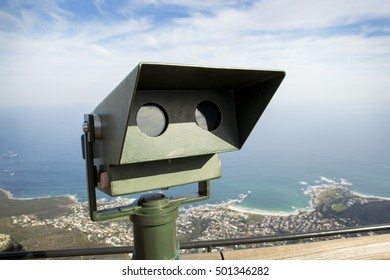 Public coin operated binoculours on Table Mountain, South Africa