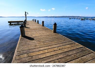 Public dock at Marine Point, Kirkland, Lake Washington, on a sunshine day