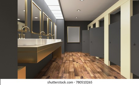 Public female restroom. 3D rendering. Empty picture