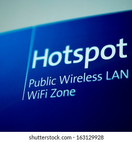 Public free Wi-Fi hotspot sign as seen in airport lounge