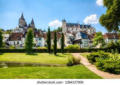 From the Public Garden in Loches, Loire Valley, France, Looking towards the Church of Saint-Ours and the Royal Lodge of the Castle of Loches