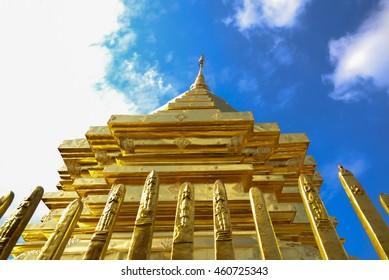 Public gold Temple. blue sky background