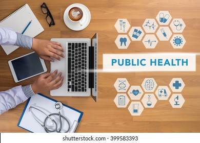 PUBLIC HEALTH CONCEPT   Professional doctor use computer and medical equipment all around, desktop top view with copyspace, coffee