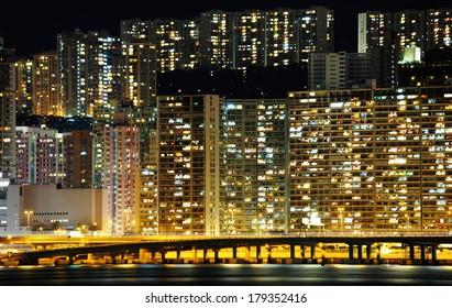 Public house in Hong Kong at night