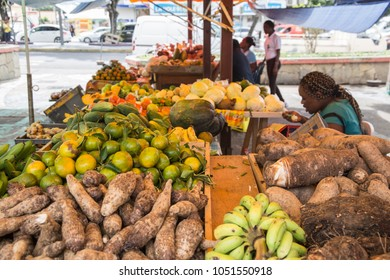 The public market in Fort-de-France on December 4, 2017 Martinique island French Antilles Caribbean sea