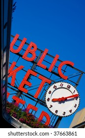 Public Market Signboard with Clock
