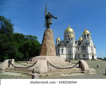 Public monument. Does not have a master. Monument to the Russian Cossack Ataman Yermak. In the background is a Cossack military Orthodox cathedral with golden domes.