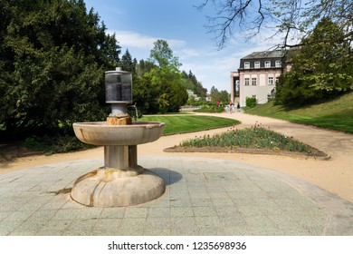 Public natural healing mineral stream of Dr. Stastny, spring with mineralized water in spa town Luhacovice, Czech Republic - Shutterstock ID 1235698936
