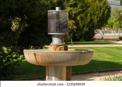 Public natural healing mineral stream of Dr. Stastny, spring with mineralized water in spa town Luhacovice, Czech Republic - Shutterstock ID 1235698939