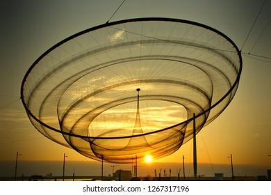 Public network sculpture in roundabout, Matosinhos, Portugal