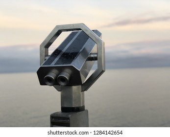 Public observation binoculars on the seashore. Volendam, Netherland.