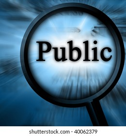 public on a blue background with a magnifier